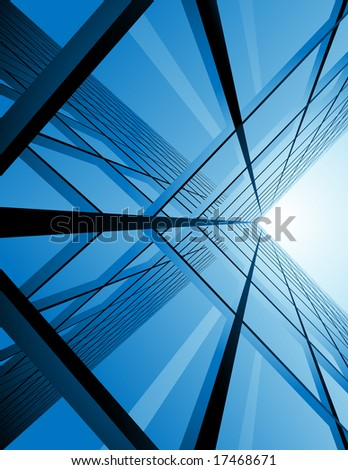 Modern building reflection, vector illustration, EPS file included - stock vector