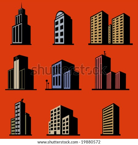 modern building vector set - stock vector