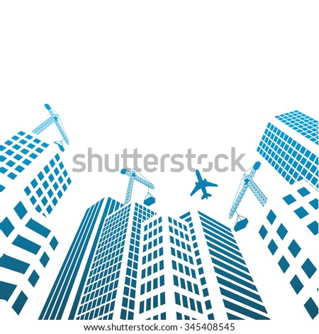 Modern Buildings and office glass Under construction silhouettes of skyscrapers in the city  - stock vector