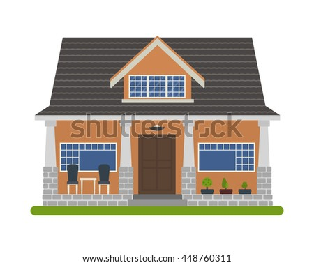 Modern Bungalow Style House Vector Illustration Of A Tourist For Rent Sale