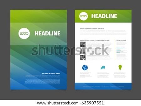 Blue Flyer Cover Business Brochure Vector Stock Vector 633189086