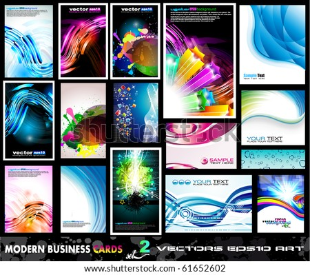 Modern Business Card Collection with various colorful backgrounds - Set 2