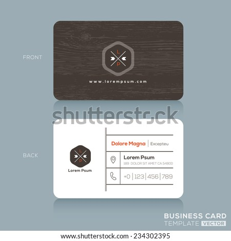 Modern Business card Design Template with dark wood background - stock vector