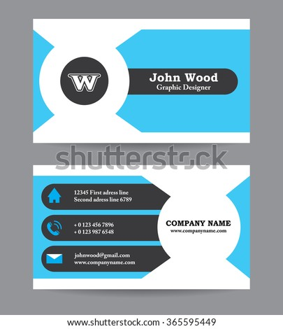 Modern Business card template in flat design. Abstract light background. Personal plain business card template design of designer with calling elements / icons Vector graphic visiting card print blank - stock vector