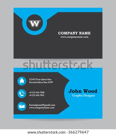 Modern Business Card Template Flat Design Stock Vector - Blank business card design template