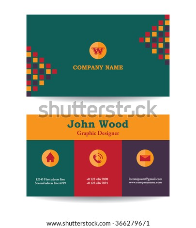 Modern business card template flat design stock photo photo vector modern business card template in flat design abstract light background personal plain business card colourmoves Image collections