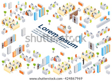 Modern Business Center Office Building Businesspeople Working Interior Copy Space 3d Isometric Vector Illustration - stock vector