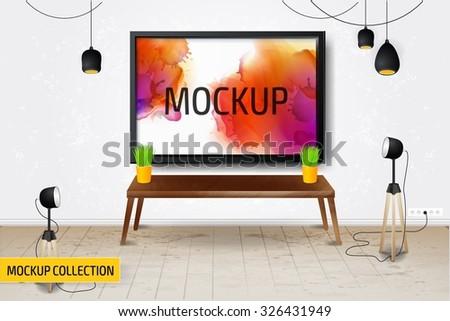 Modern Business conversation room mockup template. - stock vector