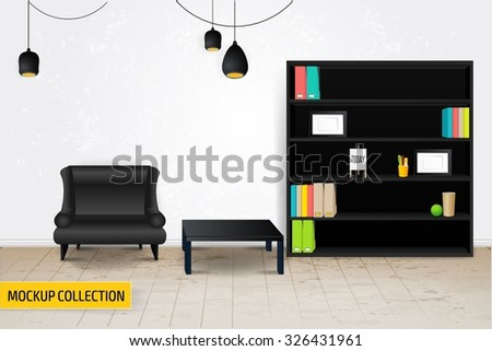 Modern Business conversation room mockup template. - stock vector