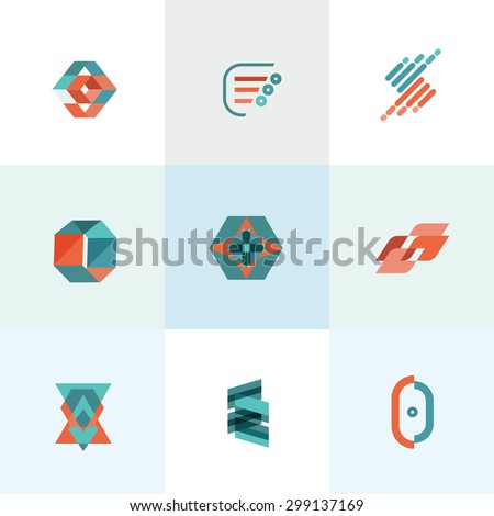 Modern business flat set of icons vector illustration