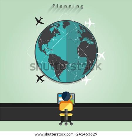 Modern business flight controller working concepts - stock vector