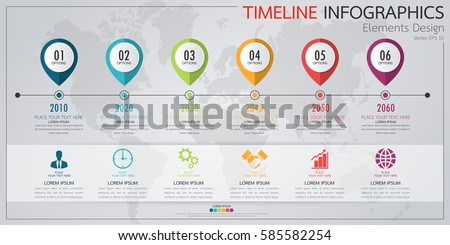 Modern Business Horizontal Timeline Process Chart Stock Vector - Timeline chart template