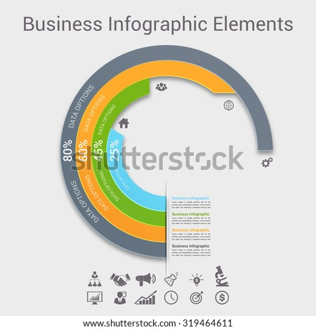 Modern business Infographics circle origami style Vector illustration. can be used for workflow layout, banner, diagram, number options, step up options, web design. - stock vector