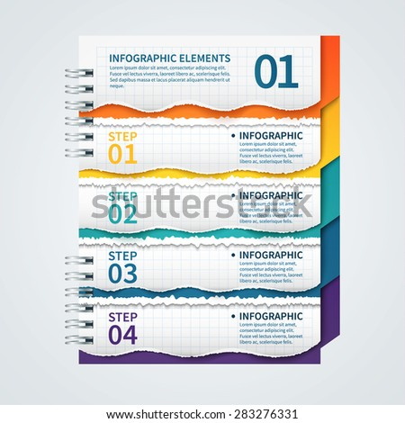 Modern business infographics design notebook on a spring ripped paper style vector EPS 10 illustration. can be used for workflow layout, presentation, web design, number options, diagram.  - stock vector