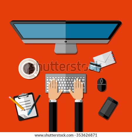 Modern business office workspace. Vector illustration. - stock vector