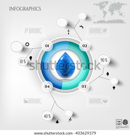 Modern, business poster with blue, numbered circle, infograph with simple icons, big water drop, isolated on bright background - stock vector