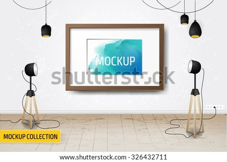 Modern Business presentation room mockup template. - stock vector