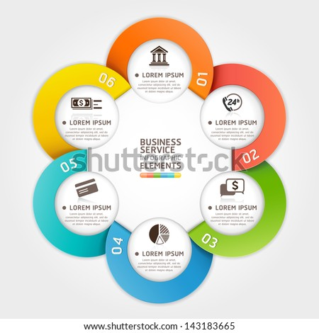 Modern business service circle origami style. Vector illustration. can be used for workflow layout, diagram, number options, banner, step up options, web design, infographics. - stock vector