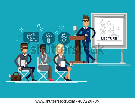 Modern business teacher giving lecture on tribune with microphone  or presentation to a group of employees. Standing in front of whiteboard. Modern flat style vector illustration. - stock vector