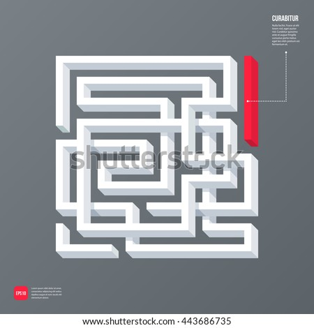 Modern business template with abstract 3d design element in a shape of a labyrinth on gray background. Neutral corporate style. - stock vector
