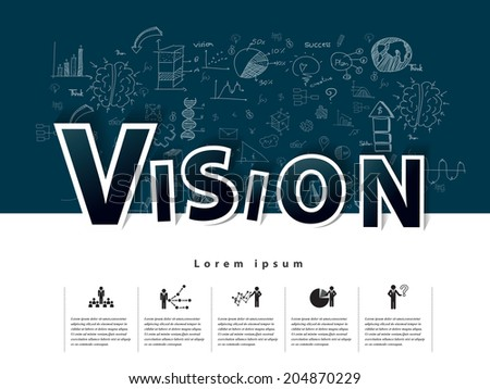 Modern business Vision text with drawing concepts in flat design for web, mobile applications, seo optimizations, business, social networks, e-commerce,planning and teamwork - stock vector
