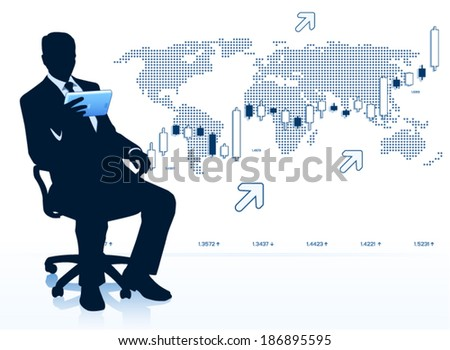 Modern businessman with tablet computer  - stock vector