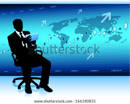Modern businessman with tablet computer (EPS10 vector) - stock vector