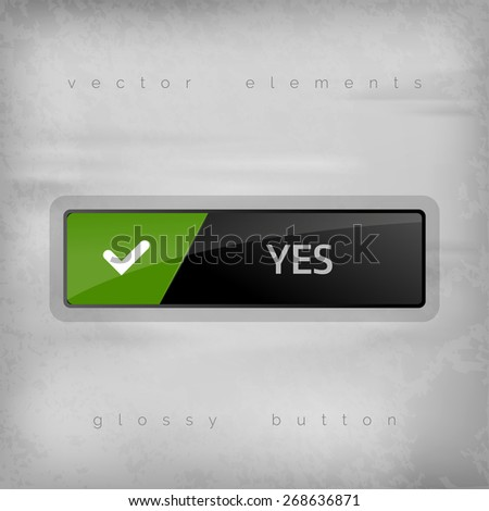 Modern buttons YES with color space for icons. Vector design elements. - stock vector