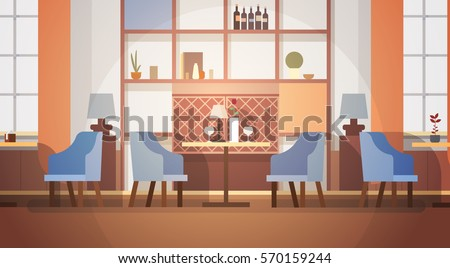 Modern Cafe Interior Empty No People Stock Vector ...