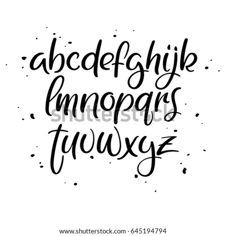 Modern Calligraphy Alphabet Decorative Handwritten Brush Font Lowercase Vector Letters Wedding