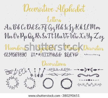 Modern calligraphy decorative alphabet with numbers, symbols, diacritics and decoration elements. Ink splashes on background. - stock vector