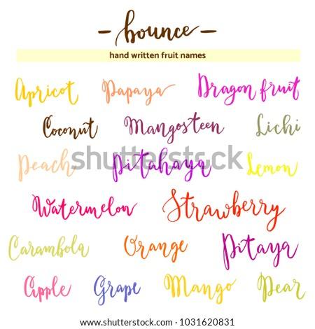 Modern Calligraphy Fruit Names Bounce Lettering Hand Written Words Peach Apple Mango