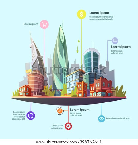 Modern capital city downtown office and residential buildings complex services concept infographic symbols poster abstract vector illustration  - stock vector