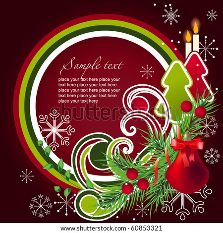 Modern cartoon christmas frame with fir and abstract elements - stock vector