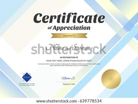 modern certificate appreciation template modern colorfulのベクター