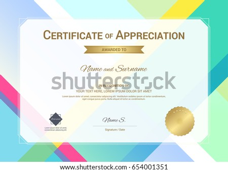 Modern Certificate Appreciation Template Modern Colorful Stock ...