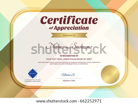 Certificate appreciation template award ribbon on stock vector modern certificate of appreciation template with modern colorful pattern in vector illustration yadclub Images