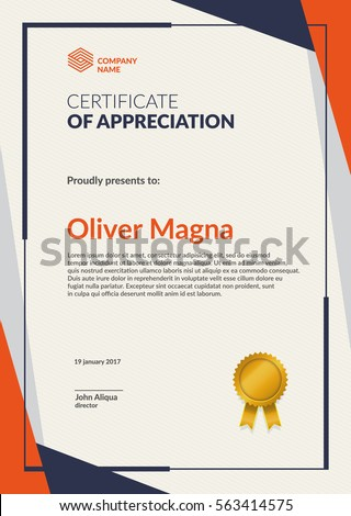 Modern Certificate Template. Flat Creative Design. Layered Eps10 Vector.  Creative Certificate Designs