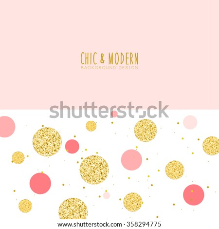 Modern Chic Gold Pink Polka Dot Background Vector Design - stock vector