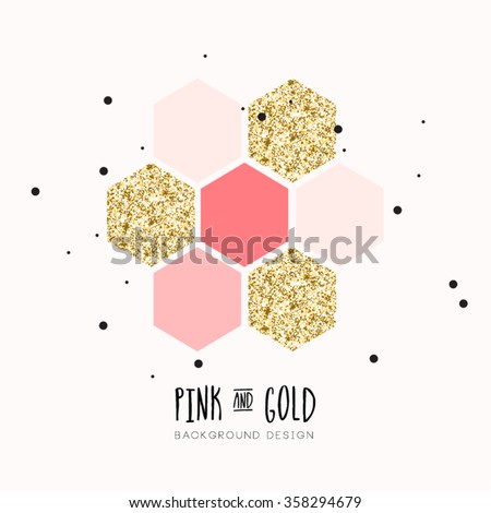 Modern Chic Pink Gold Vector Design - stock vector