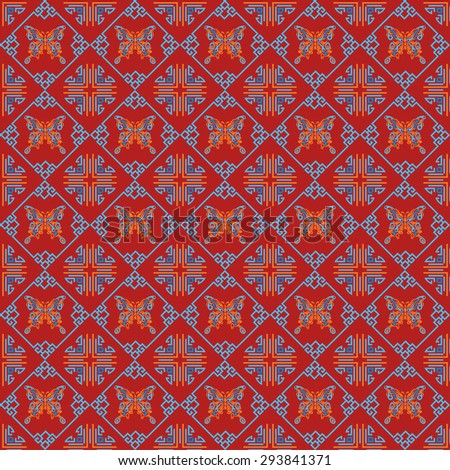 Modern chinese texture, design template, geometric tiles wallpaper pattern background in retro style for your design vector illustration