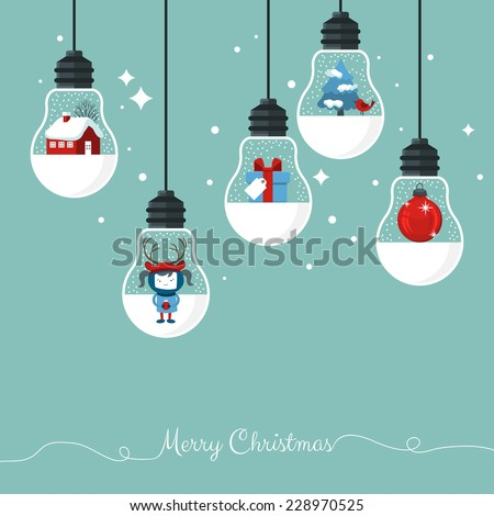 Modern Christmas card flat  stylish design. Creative design with hanging light bulbs - stock vector