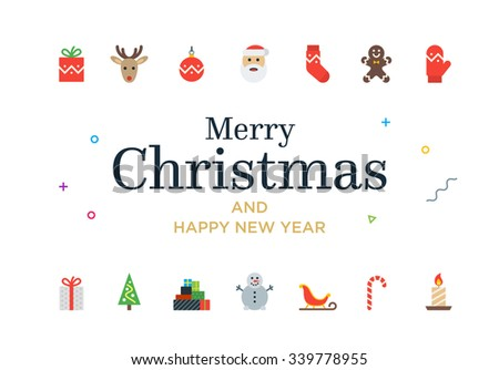 Modern Christmas Card with icons. Minimalistic Merry Christmas illustration - stock vector