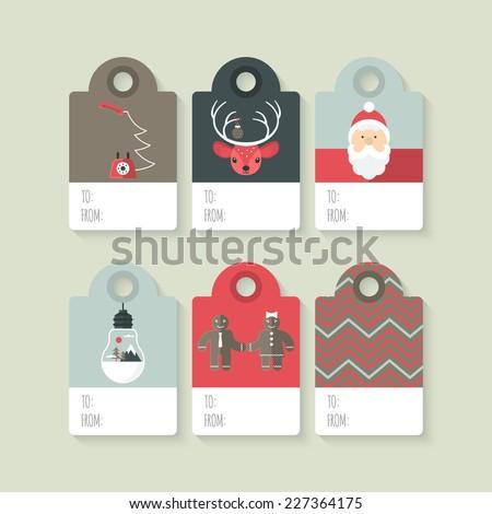 Modern Christmas gift tag flat  stylish design. Set of Christmas tags with Santa, deer, light bulb and telephone - stock vector