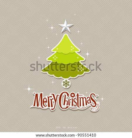 Modern christmas green tree design illustration - stock vector