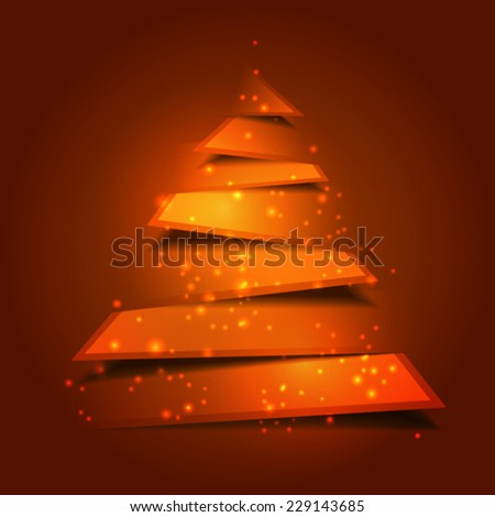 Modern christmas tree background with holy lights - stock vector