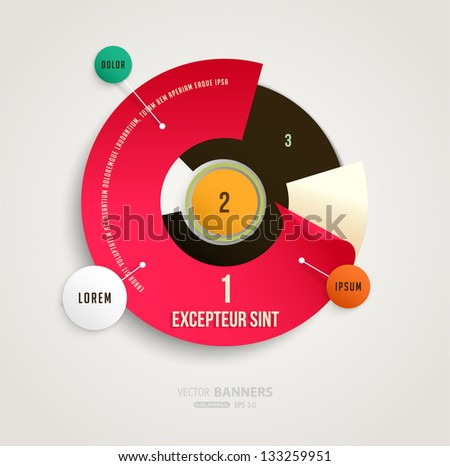 Modern circle infographic template for business design. Can be used for banners, cards, paper designs, website layouts, diagrams and presentations. Vector eps10 illustration. - stock vector