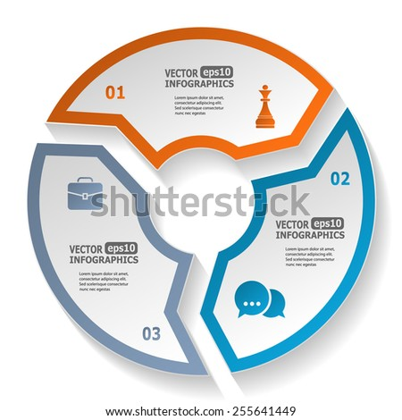 Modern circle infographics for e-business, diagrams, charts, web sites, mobile applications, banners, corporate brochures, book covers, layouts, presentations etc. Vector eps10 illustration - stock vector