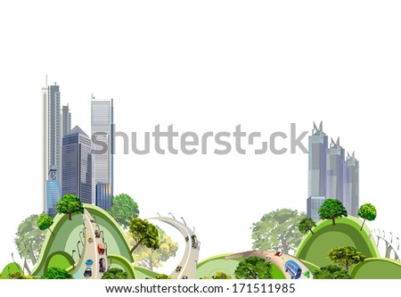 Modern city and roads