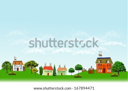 Modern city and village baclground City line collection - stock vector